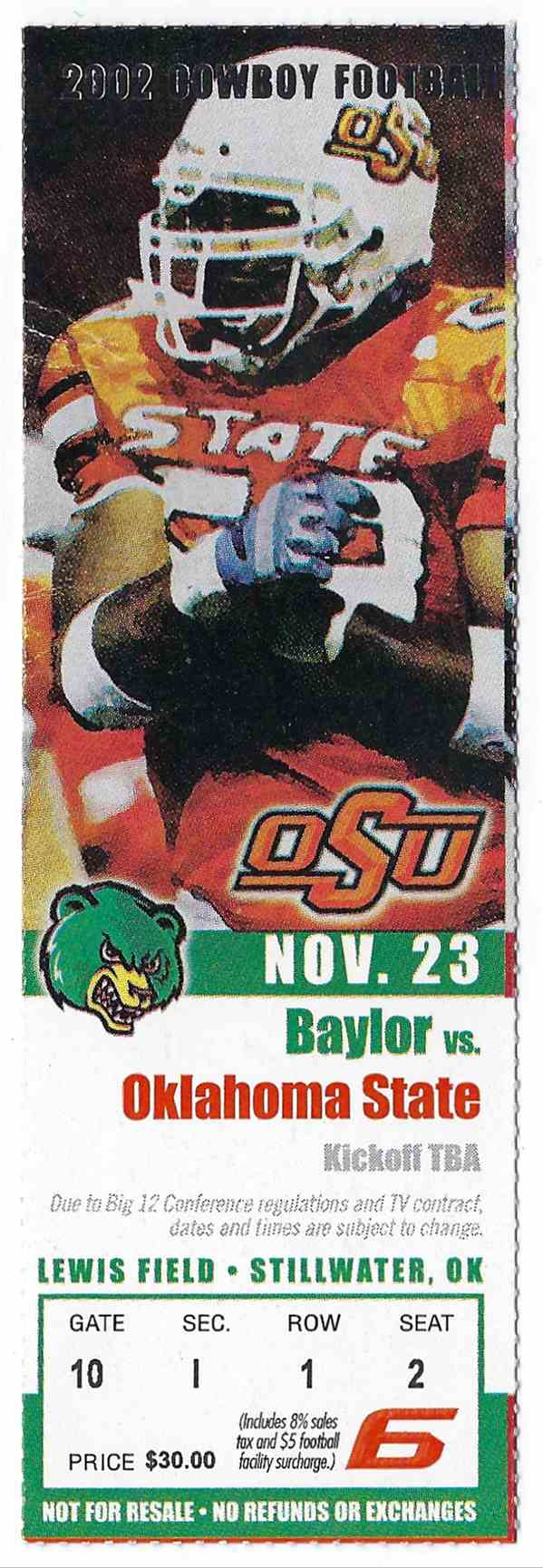 2002 College Football Ticket Stub Baylor Vs Oklahoma State card front image