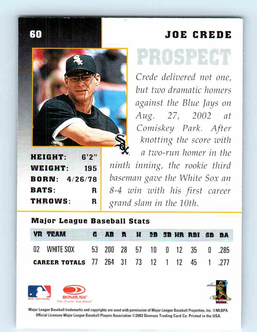 2003 Donruss Champions Joe Crede 60 On Kronozio