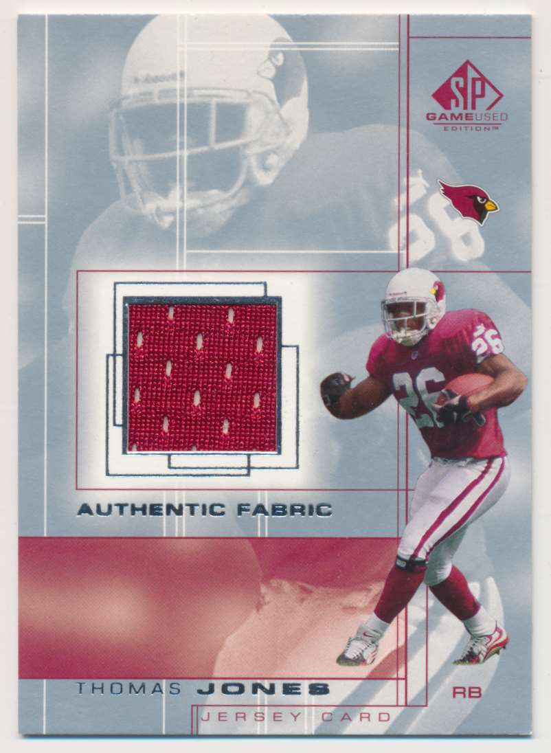 2001 SP Game Used Edition Authentic Fabric Thomas Jones #TJ card front image