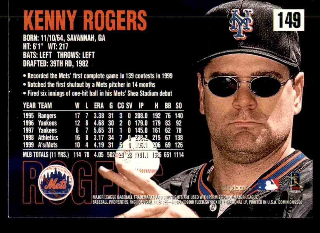 2000 SkyBox Dominion Kenny Rogers #149 card back image