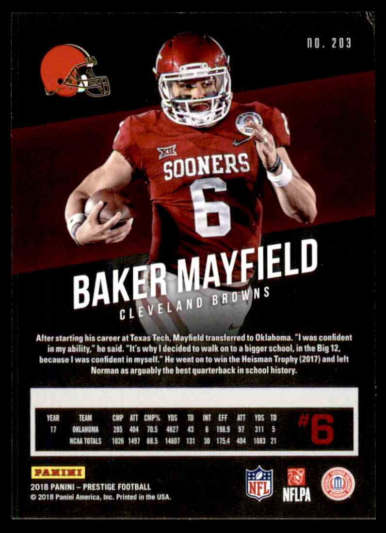 2018 Panini Prestige Baker Mayfield card back image