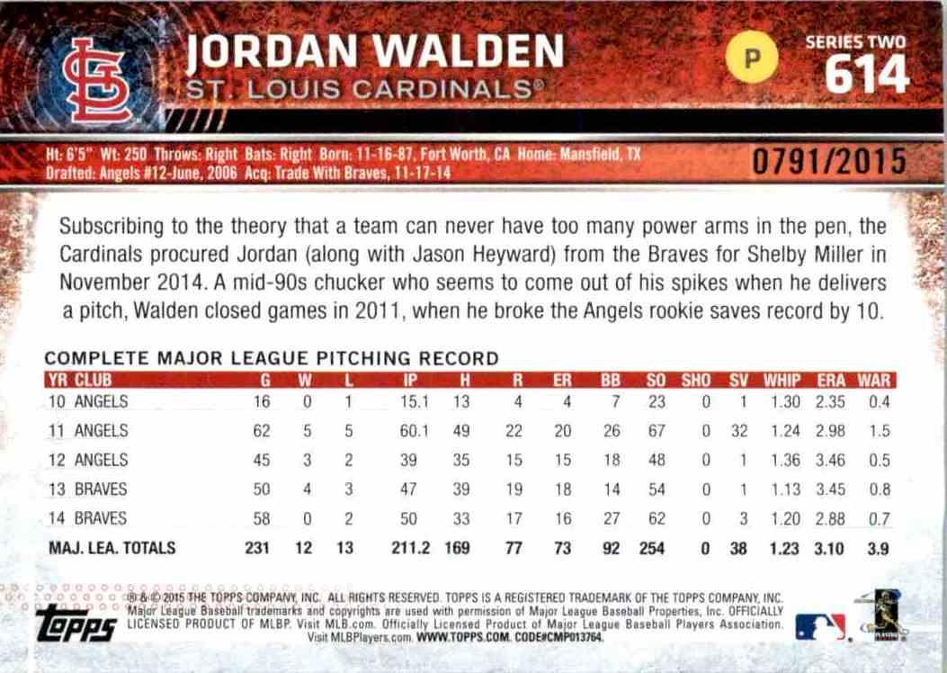 2015 Topps Gold Jordan Walden #614 on Kronozio