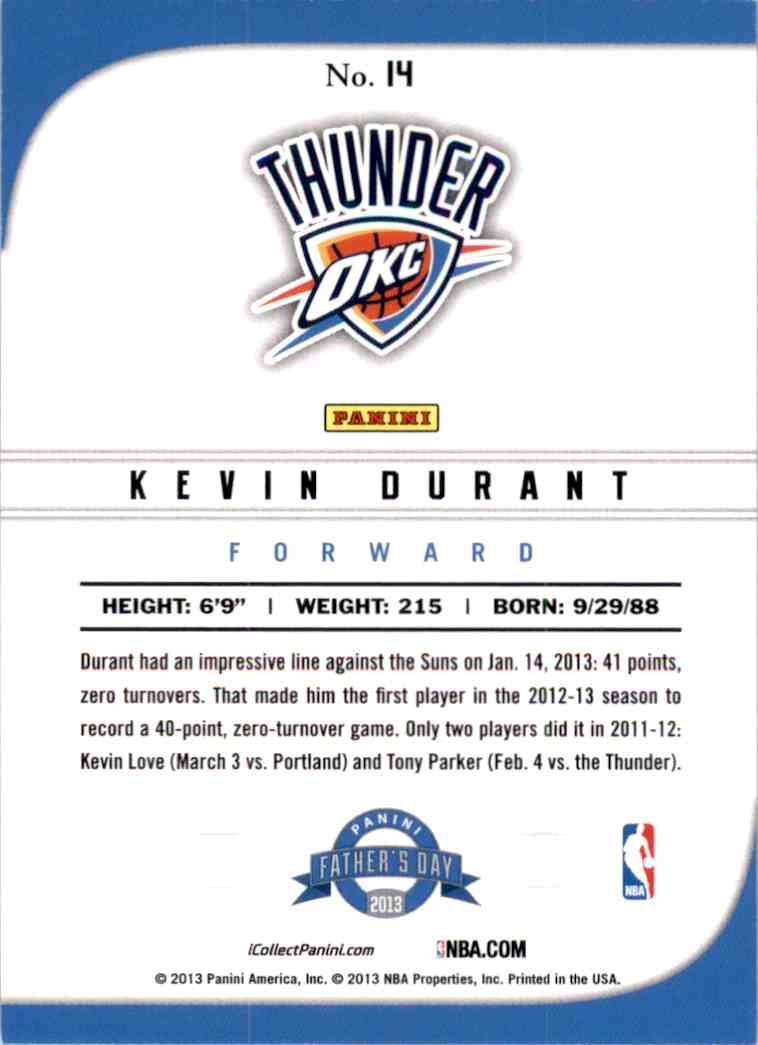 2013-14 Panini Father's Day Kevin Durant #14 card back image