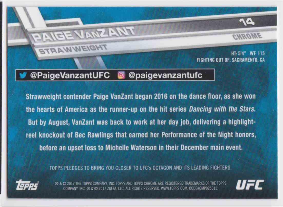 2017 Topps Chrome UFC Paige Vanzant #14 card back image