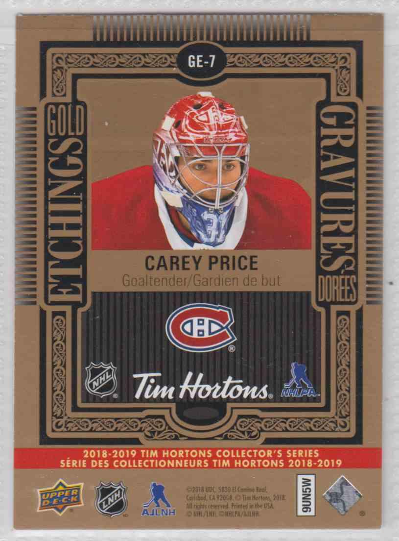 2018-19 Upper Deck Tim Horton Etchings Gold Carey Price #GE-7 card back image