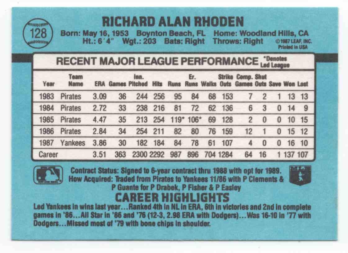 1988 Donruss Rick Rhoden #128 card back image
