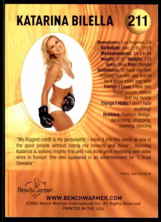 2002 Bench Warmer Katarina Bilella #211 card back image