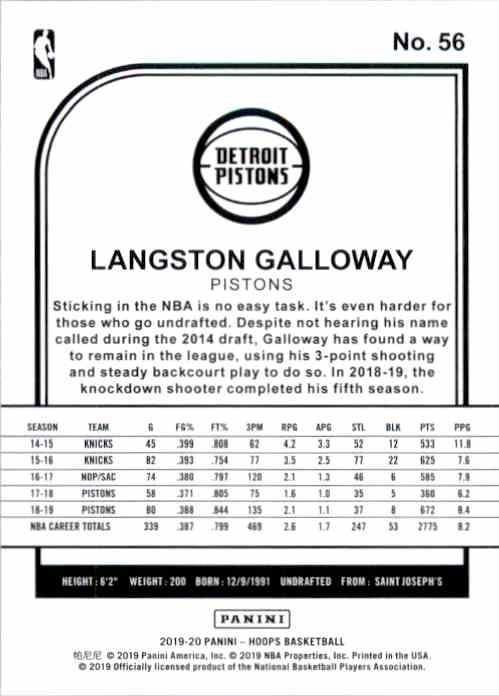 2019-20 Hoops Langston Galloway #56 card back image