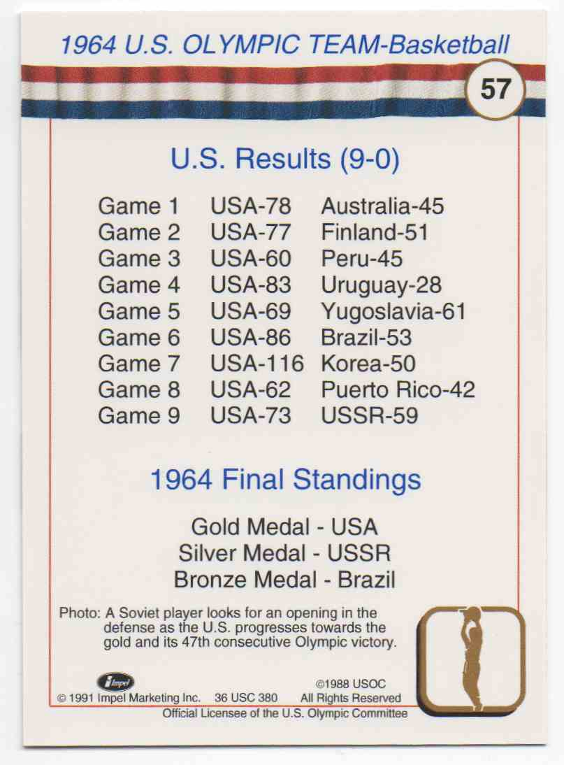 1991 Impel U.S. Olympic Hall Of Fame 1964 Olympic Basketball #57 card back image