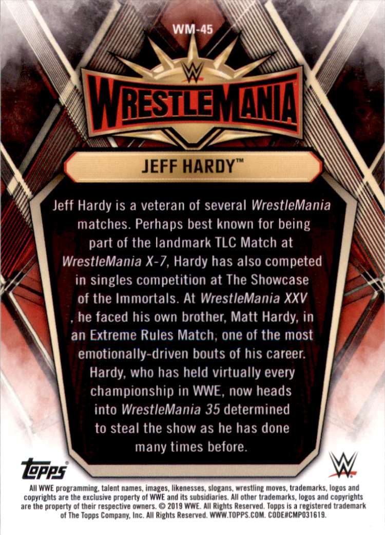 2019 Topps Wwe Road To WrestleMania WrestleMania 35 Roster Jeff Hardy #WM45 card back image