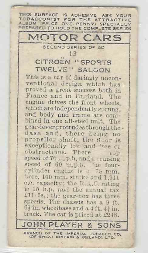1937 Player's Motor Cars Series 2000 New York City Subway Series Citroen Sports Twelve Saloon #13 card back image