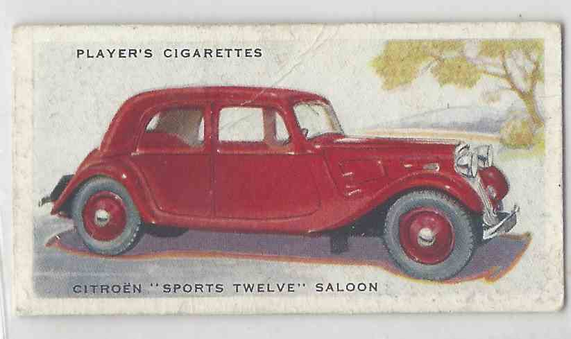 1937 Player's Motor Cars Series 2000 New York City Subway Series Citroen Sports Twelve Saloon #13 card front image