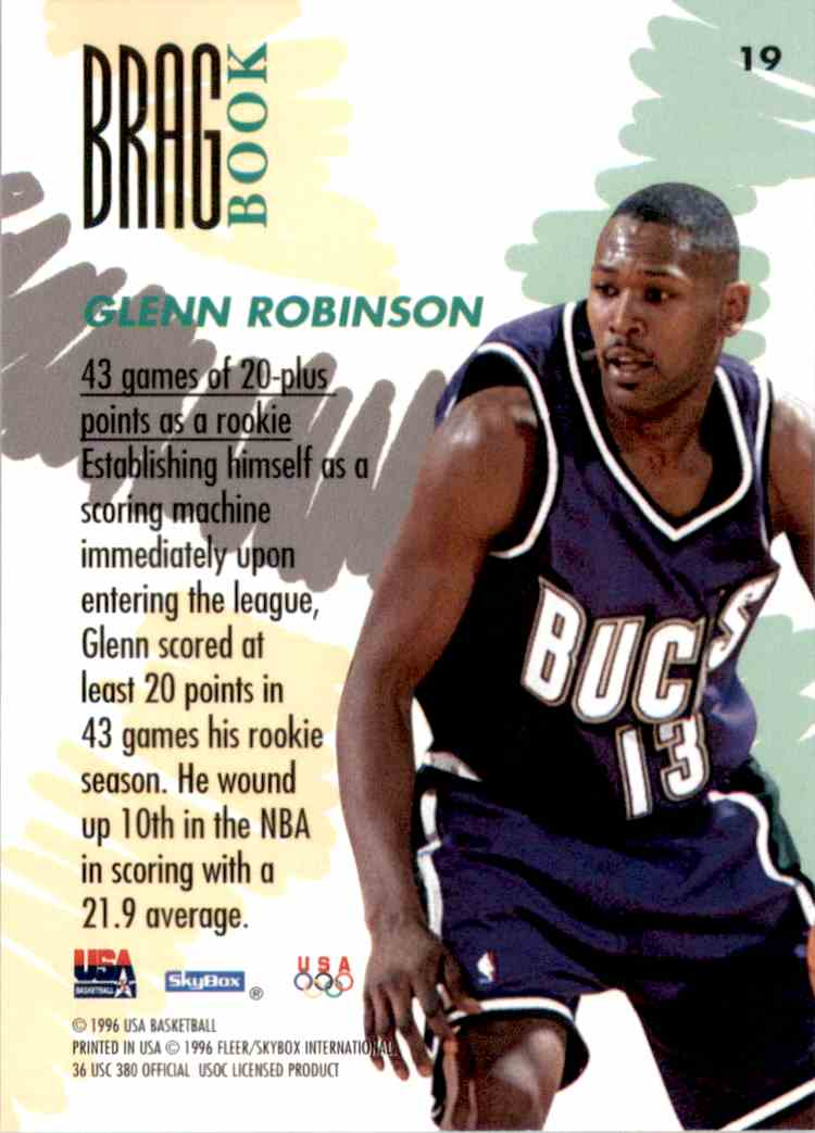 1996-97 SkyBox USA Glenn Robinson #19 card back image