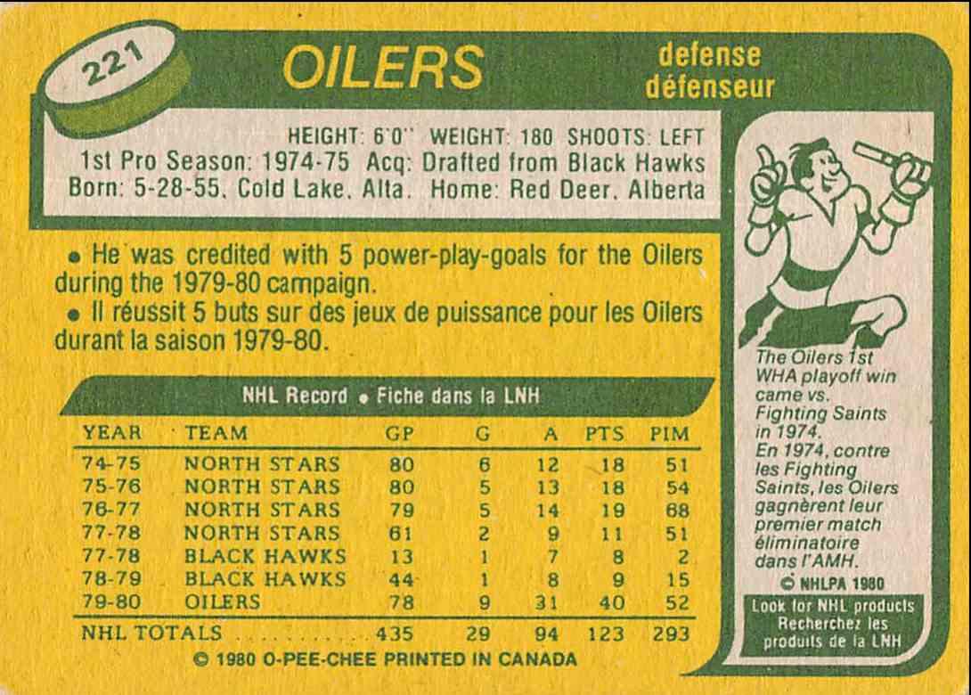 1980-81 O-Pee-Chee Doug Hicks #221 card back image