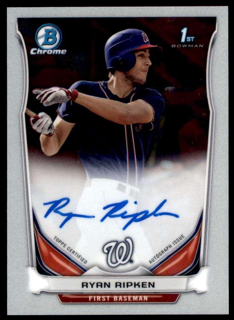 2014 Bowman Draft Picks & Prospects Chrome Draft Pick Autographs Ryan Ripken #BCA-RR card front image