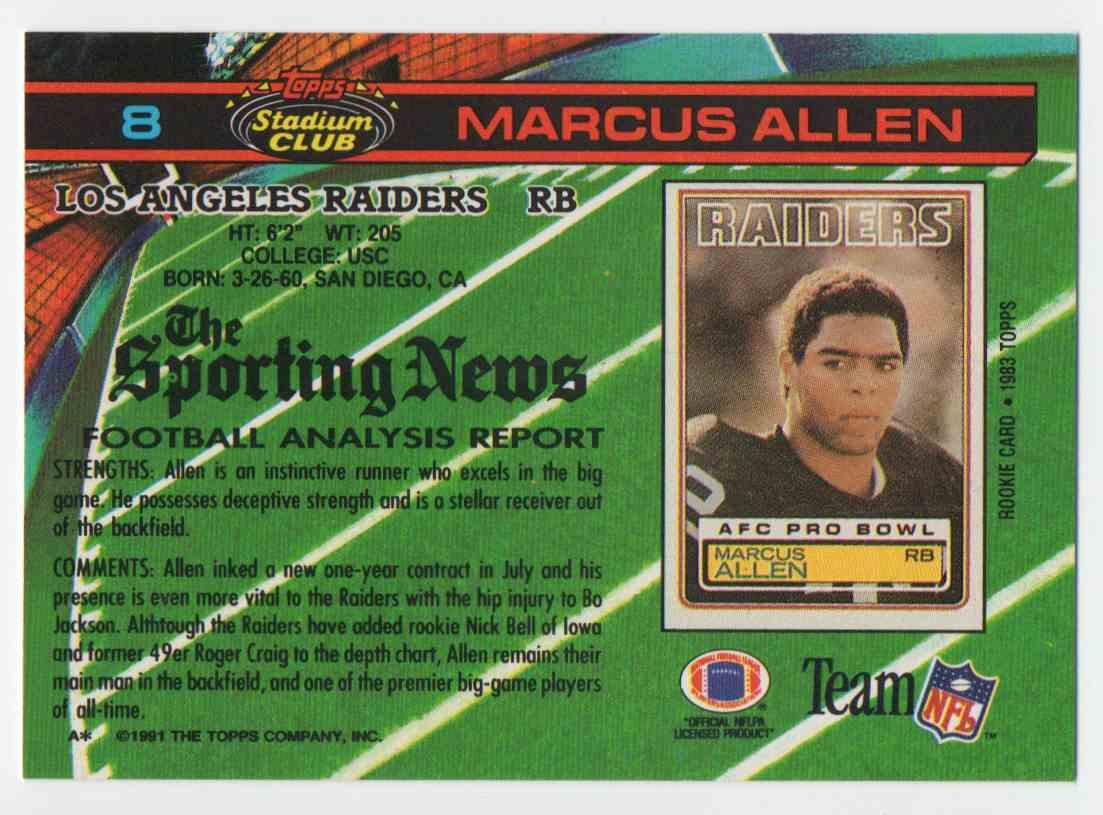 1991 Stadium Club Marcus Allen #8 card back image