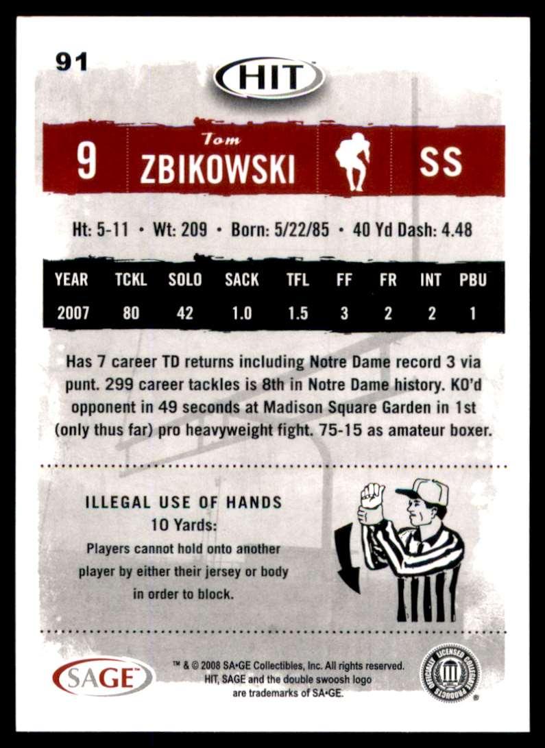 2008 Sage Hit Tom Zbikowski #91 card back image