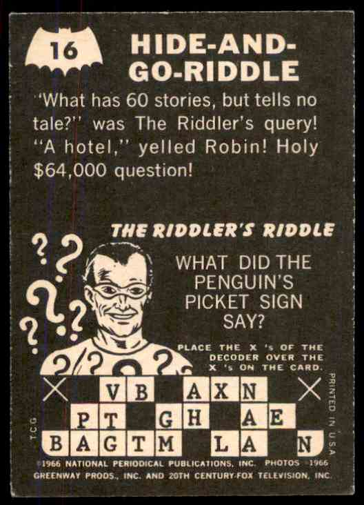 1966 Topps Batman Riddler Back Hide-And-Go-Riddle #16 card back image