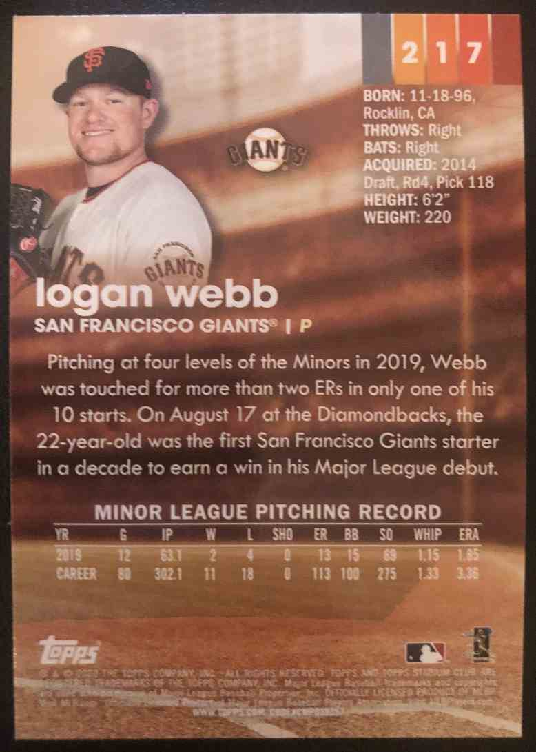 2020 Topps Stadium Club Logan Webb #217 card back image