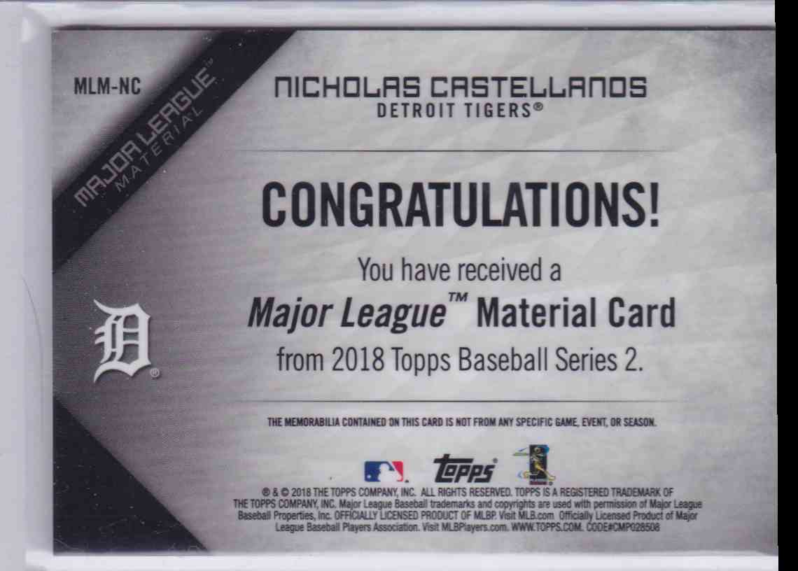 2018 Topps Series 2 Major League Material Nicholas Castellanos #MLM-NC card back image