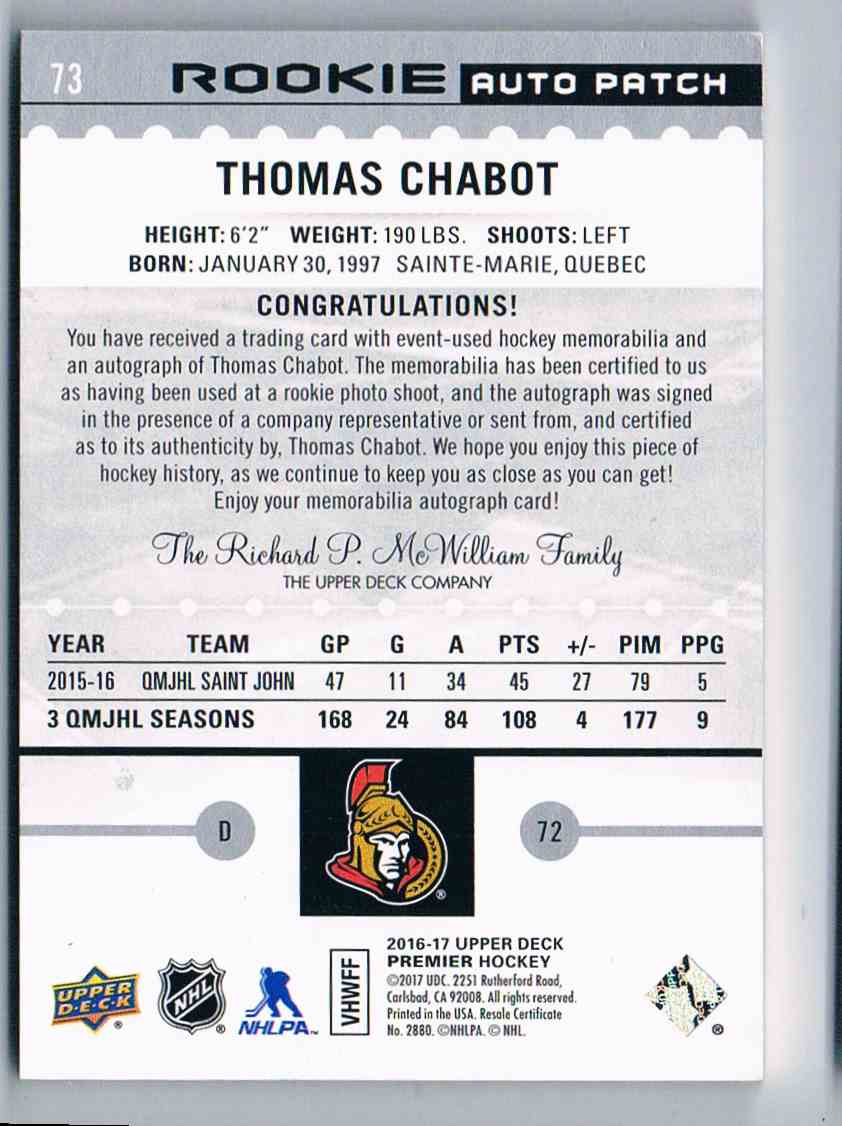 2016-17 Upper Deck Premier Rookie Auto Patch Thomas Chabot #73 card back image
