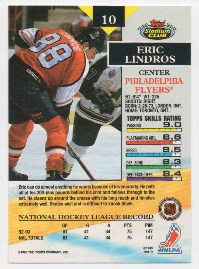 1993-94 Stadium Club Eric Lindros #10 card back image