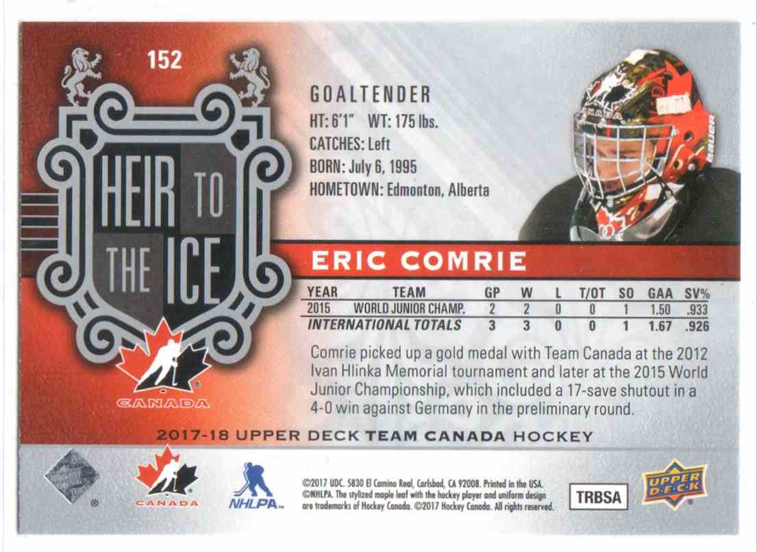 2017-18 Upper Deck Team Canada Canadian Tire Eric Comrie #152 card back image