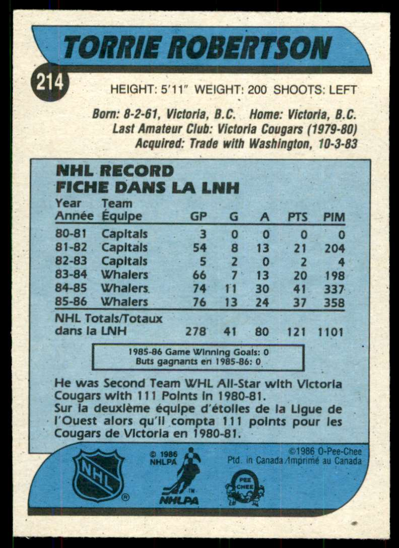 1986-87 OPC Torrie Robertson #214 card back image