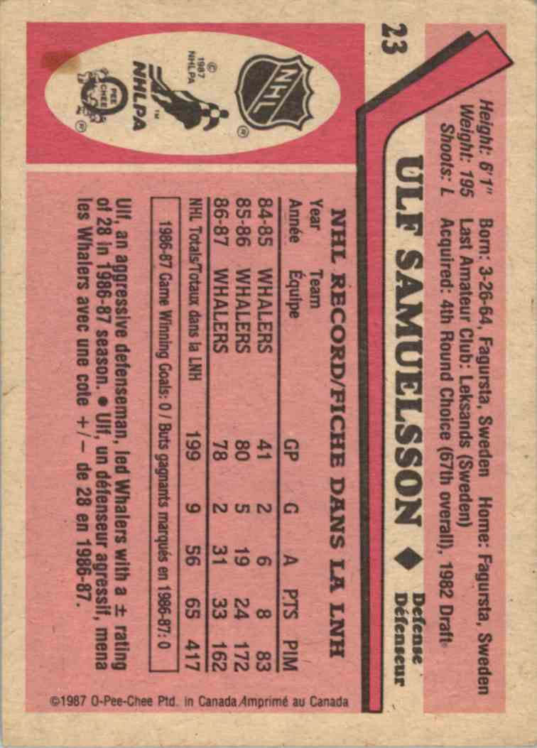 1987-88 O-Pee-Chee Ulf Samuelson #23 card back image