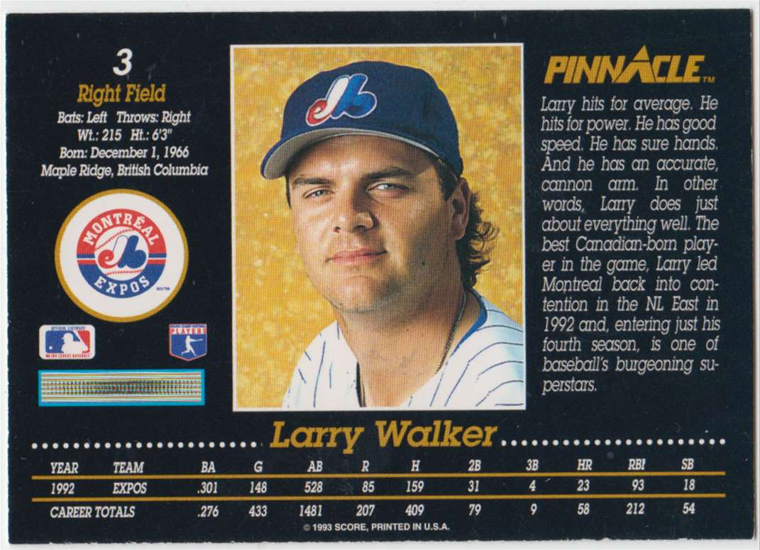 1993 Pinnacle Larry Walker #3 card back image
