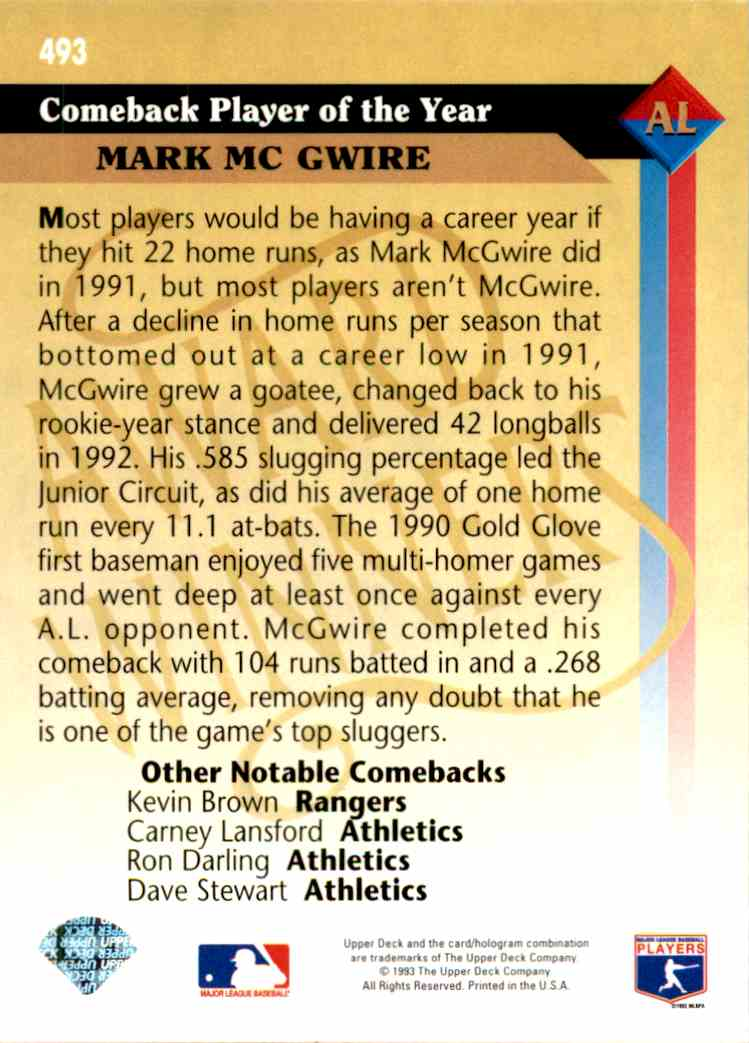1993 Upper Deck Series 2 Al Award Winner Mark McGuire #493 card back image