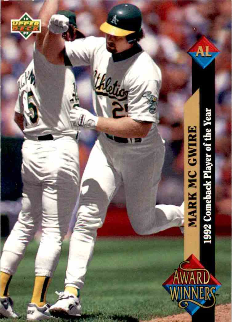 1993 Upper Deck Series 2 Al Award Winner Mark McGuire #493 card front image