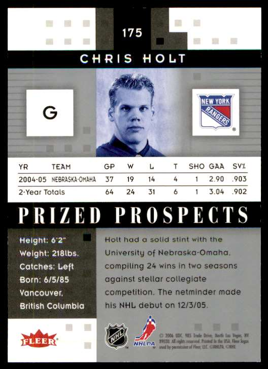 2006-07 Fleer Hot Prospects Chris Holt #175 card back image