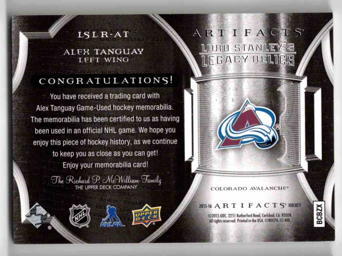 2015-16 Upper Deck Artifacts Lord Stanley's Legacy Relics Gold Alex Tanguay #LSLR-AT card back image