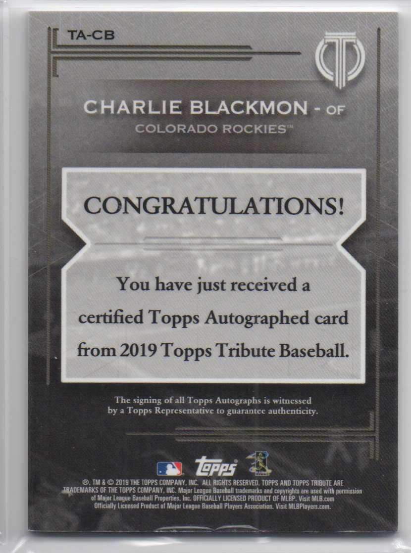 2019 Topps Tribute Autographs Charlie Blackmon #TA-CB card back image