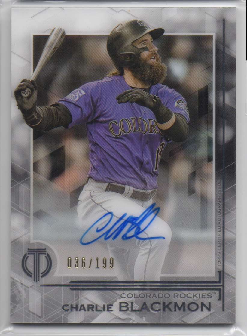 2019 Topps Tribute Autographs Charlie Blackmon #TA-CB card front image