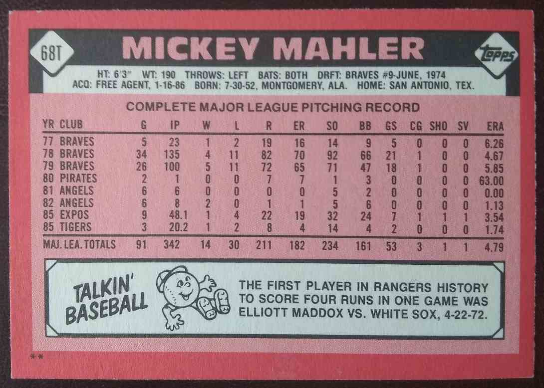 1986 Topps Traded Mickey Mahler #68T card back image