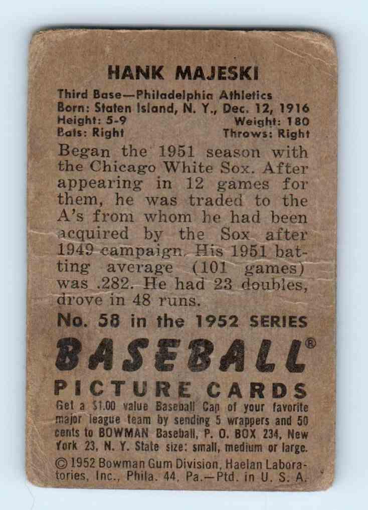 1952 Bowman Hank Majeski #58 card back image