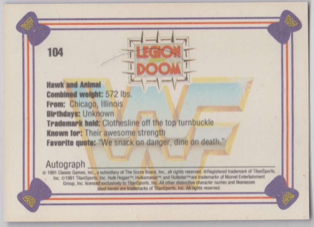 1991 Classic WWF Superstars Legion Of Dooms #104 card back image