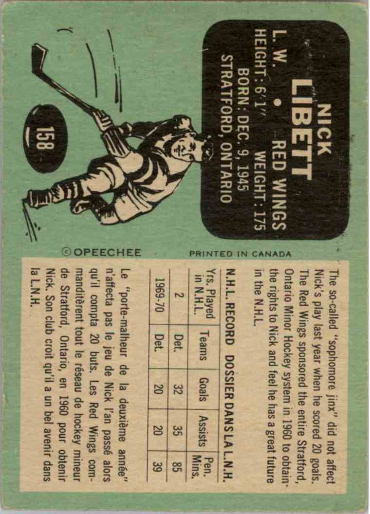 1970-71 O-Pee-Chee Nick Libett - Good Due To Crease #158 card back image