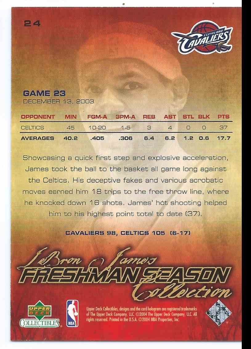 2003-04 Upper Deck LeBron James Freshman Season Collection Freshman Season LeBron James (Rc) Rookie Vs. Paul Pierce #24 card back image