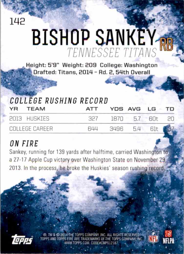 2014 Topps Fire Bishop Sankey RC #142 card back image
