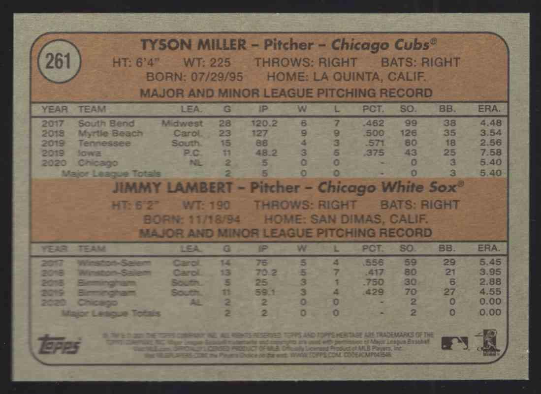 2021 Topps Heritage Tyson Miller / Jimmy Lambert #261 card back image