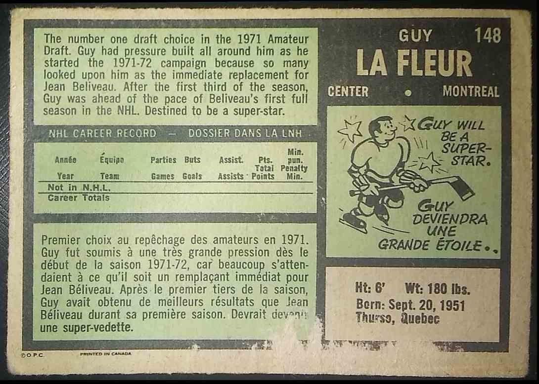 1971-72 O-Pee-Chee Guy Lafleur #148 card back image