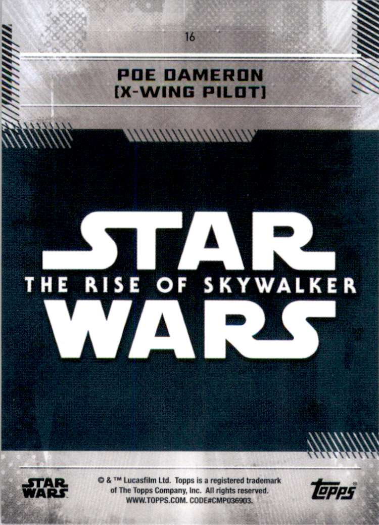 2019 Star Wars The Rise Of Skywalker Series One Poe Dameron (X-Wing Pilot) #16 card back image