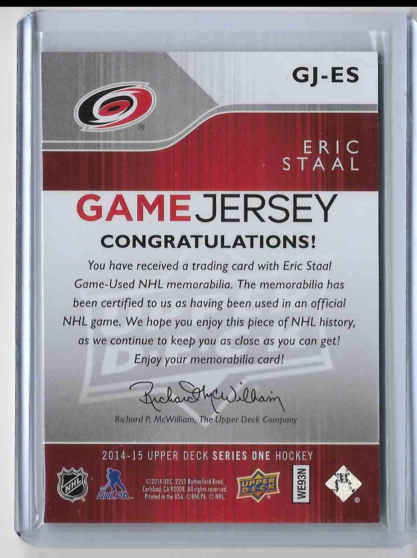 2014-15 Upper Deck Eric Staal #GJ-ES card back image
