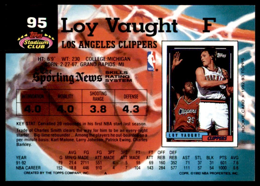 129 Loy Vaught trading cards for sale