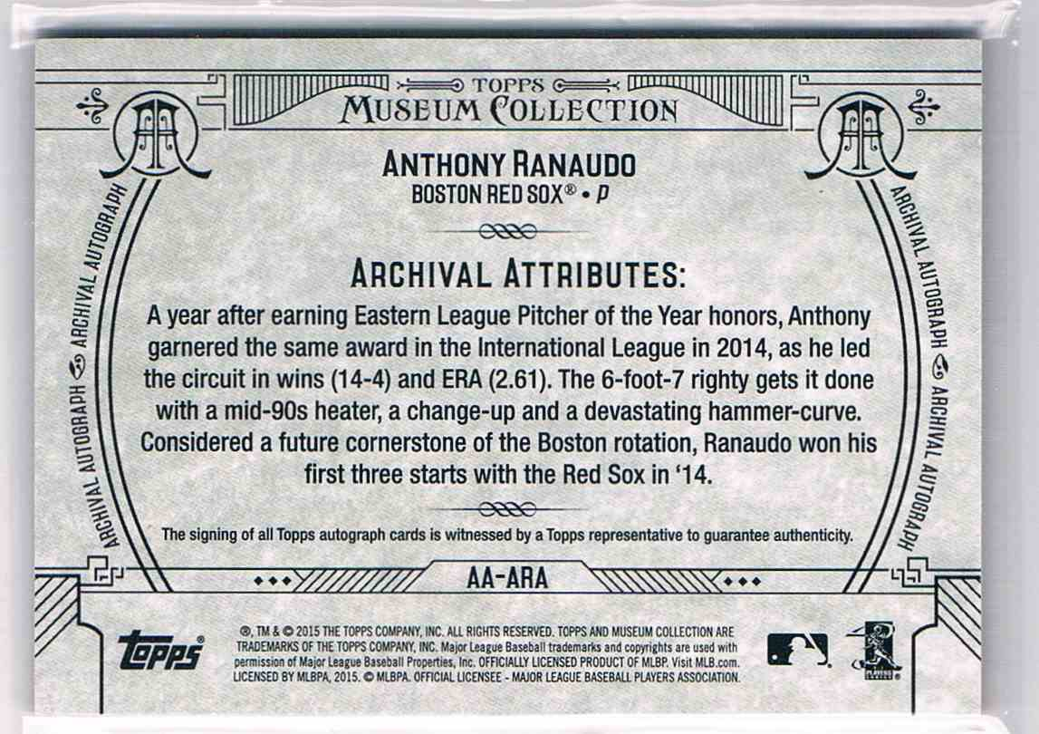 2015 Topps Museum Collection Anthony Ranaudo #AA-ARA card back image