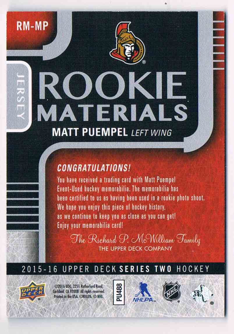 2015-16 Upper Deck Rookie Materials Matt Puempel #RM-MP card back image