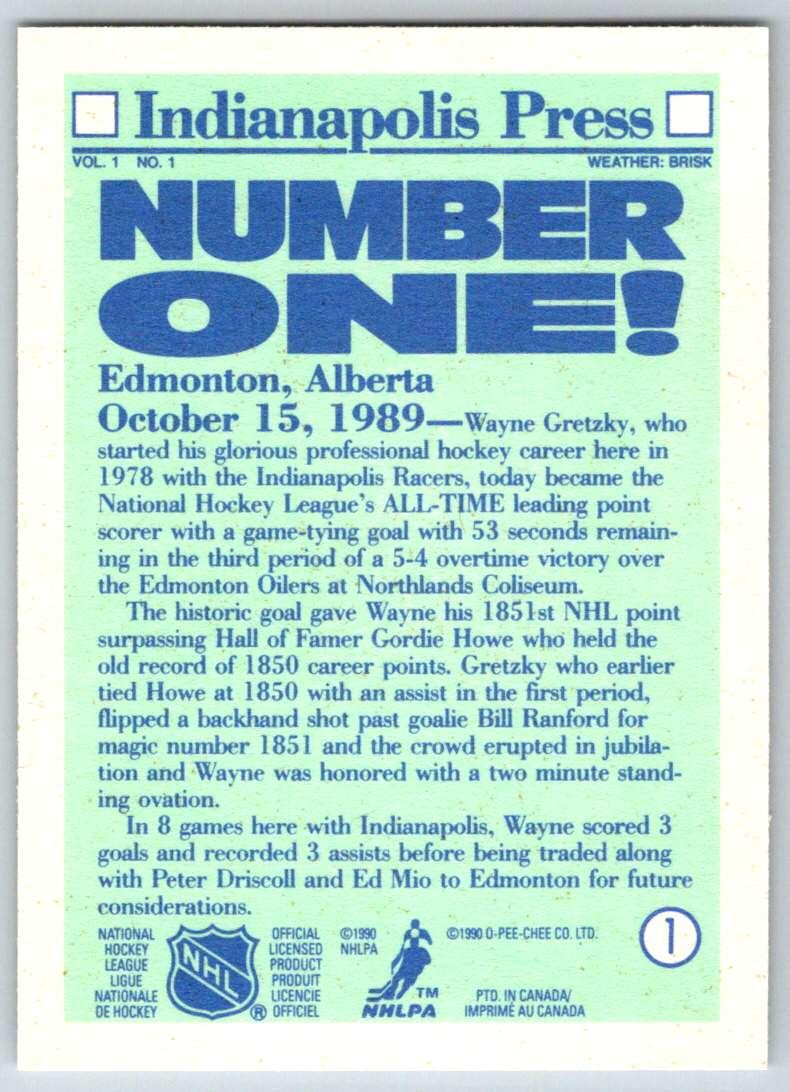 1990-91 O-Pee-Chee Wayne Gretzky #1 card back image
